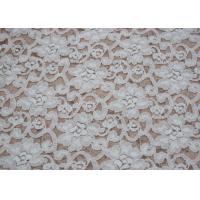 Cheap Fashion Brushed White Lace Fabric Flower Shape , Stretchable 135cm Width CY-LQ0042 for sale