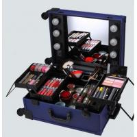 China Professional Waterproof Makeup Trolley Cosmetic Case With Lighted Mirror KL-MCL001-BLUE on sale