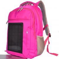 China Pink Womens Hiking Solar Charging Backpack With Charger Built In on sale