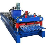 China Prepainted Steel Roofing Glazed Tile Roll Forming Machine With Hydraulic Cutting on sale