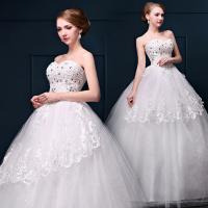 China Beaded Princess Waist Bra Lace Flower Shoulder Wedding Dress Wholesale Bride Wedding Dress on sale