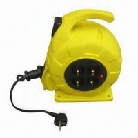 China Auto Retractable Cable Reel with Panel Socket, Over-heat Protection on sale
