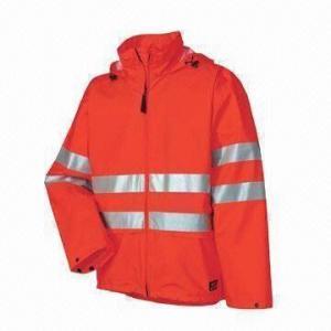 Cheap Fluorescence Men's Uniform Rainwear/Raincoat with PU fabric, Meets EN471 Standard for sale