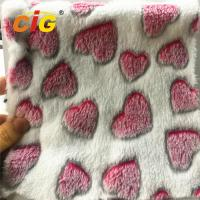 Cheap 100% Polyester Heart Printed Coral Fleece for Blanket Bed Sheet Home Textile for sale
