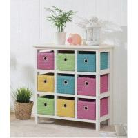 Cheap Wood Chest Drawer Cabinet with Colorful Baskets for sale