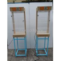Cheap Shops Lighting Acrylic Wooden Sunglasses Display Stand With Blue Metal Rack wholesale