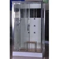 Cheap 1200x800x2150mm Rectangular Shower Cabins With Bamboo Seat for sale