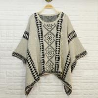 Buy cheap Aztec pattern jacquard women knit poncho shawl , ladies wool ponchos from Wholesalers