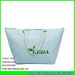 Cheap LUDA sky blue chevron beach handbag totes large summer straw shopping bag women for sale