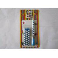Cheap Blue Striped Birthday Musical Candle Singing Song For Christmas Party Decorations for sale