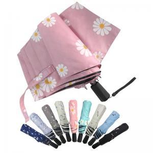 China UV Proof Coating 3 Folding Umbrella Pongee With Black Coating on sale