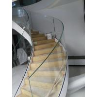 Cheap Side-mounted solid wood handrail glass railing prefabricated curved stairs for sale