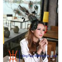 China Character Black Customized Elegant   Womens  Flower Fascinators With Peacock Feather on sale