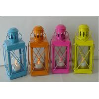 Cheap Colorful windproof outdoor camping metal lanterns decoration lanterns metal candle lantern for sale