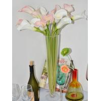 "China 27""real touch PU artificial calla lily flowers CA-031-27S white and pink colour on sale"