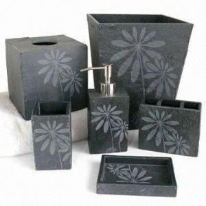 Black bath accessories sets black bath accessories sets for Stone coloured bathroom accessories