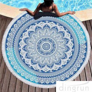 China Multi - Purpose Custom Printed Beach Towels , Round Beach Blanket With Tassels on sale