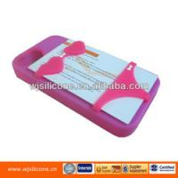 Cheap Card holder silicone phone case for iphone 4 for sale