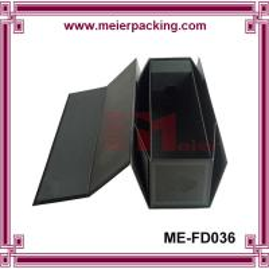 China Single champagne bottle gift box, black fold up wine cardboard packaging box ME-FD036 on sale