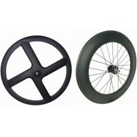 Cheap Black Carbon Tubular Track Wheels , 8 Bars 4 Spoke Track Cycling Wheels  for sale