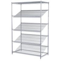 China Goods Display Slanted Wire Shelving Units , 5 Tier Chrome Plated Steel Rack on sale