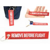 Quality Custom Embroidery Logo Remove Before Flight Keychain, Woven Logo Keychain, Red Remove Before Flight Keychain with Ring wholesale