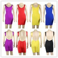 China Celebrity High Quality Popular Best Selling Women Fashion Sexy Backless Bandage Dress Wholesale Price 5 Color on sale