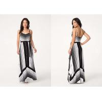 Buy cheap Sweetheart Neckline Casual Long Dresses Detachable Sash Striped Maxi from Wholesalers