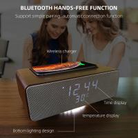 Cheap Wireless Charging Bluetooth Stereo Speakers Alarm Clock Room Temperature Display for sale