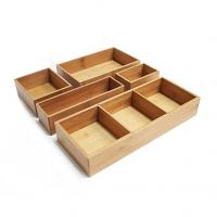 Cheap Bamboo wood kitchen cutlery holder drawer organizer for sale