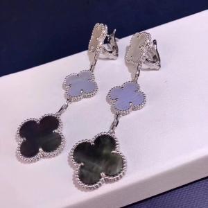 Cheap Van Cleef & Arpels 18K Gold Diamond Earrings / Magic Alhambra Earrings With Gemstone for sale