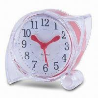Cheap Transparent Plastic Table Alarm Clock, Operated by 1 x AAA Battery for sale