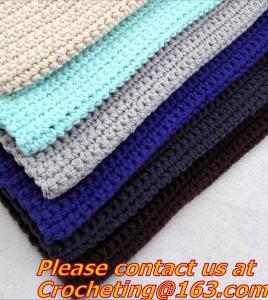 Cheap 100% handmade Crochet Blanket colorful stripe knitted baby blanket cover knit throw blanke for sale
