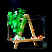 Cheap Fake glass acrylic custom fish aquarium with wood base for sale