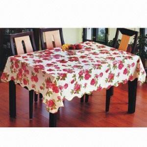 China PVC Nonwoven Flower Design Crochet Table Cloth, Latest Design Printing Crochet Table Cloth on sale