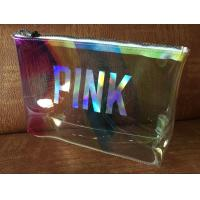 Cheap Clear Laser Luxury PVC Cosmetic Bag Top Logo Printing With Shining Zipper for sale