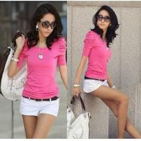 Quality o-neck short sleeve lady fashion pullover sweater wholesale