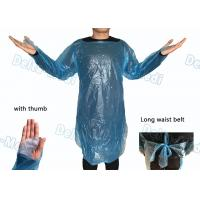 Waterproof Medical Plastic Products CPE Surgical Gown / Isolation Gown With Thumb Loop Cuff