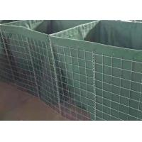 China Square Hole Military Hesco Barriers Gabion Mesh Box With Green Geotextile on sale