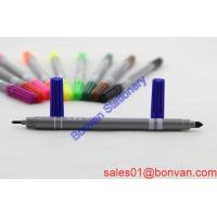 Cheap double heads color highlighter , fine and slim watercolor pen ,marker pen for sale
