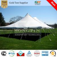 China 12x18m pole tent staked into grounds by guy ropes and pegs on sale