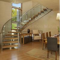 Cheap Internal residential glass treads curved staircase for sale