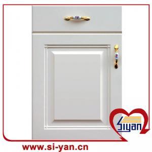 Cheap pvc film faced MDF laminate round corner kitchen cabinet door for sale
