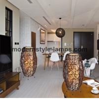 China Interior Adornment Rattan Table Lamp , Modern Table Lamps Rattan Natural Material on sale