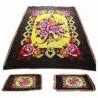 Cheap Brown Silk Fleece Blanket with 100% Polyester/3-sided Tassels/2pcs Pillow Slips/Big Flower Design for sale