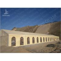 Cheap 500 Seater Outdoor Party Tents Mud-Yellow Tarpaulin Aluminium Frame Marquee 15x45 M wholesale