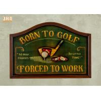 China Home Decor Antique Wooden Wall Signs Golf Club Wall Art Signs 3D Golf Wall Signs on sale