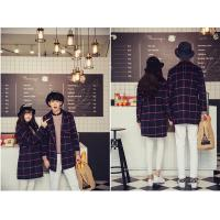 Buy cheap Tartan couple wear lover's cloth winter coat orange/white/navy from wholesalers