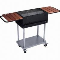 Charcoal grill with wheels set and condiment tables