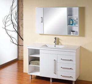 Cheap White 48 inch bathroom vanity single Ceramic basin , optiona Waste drain wall mounted sink vanity for sale
